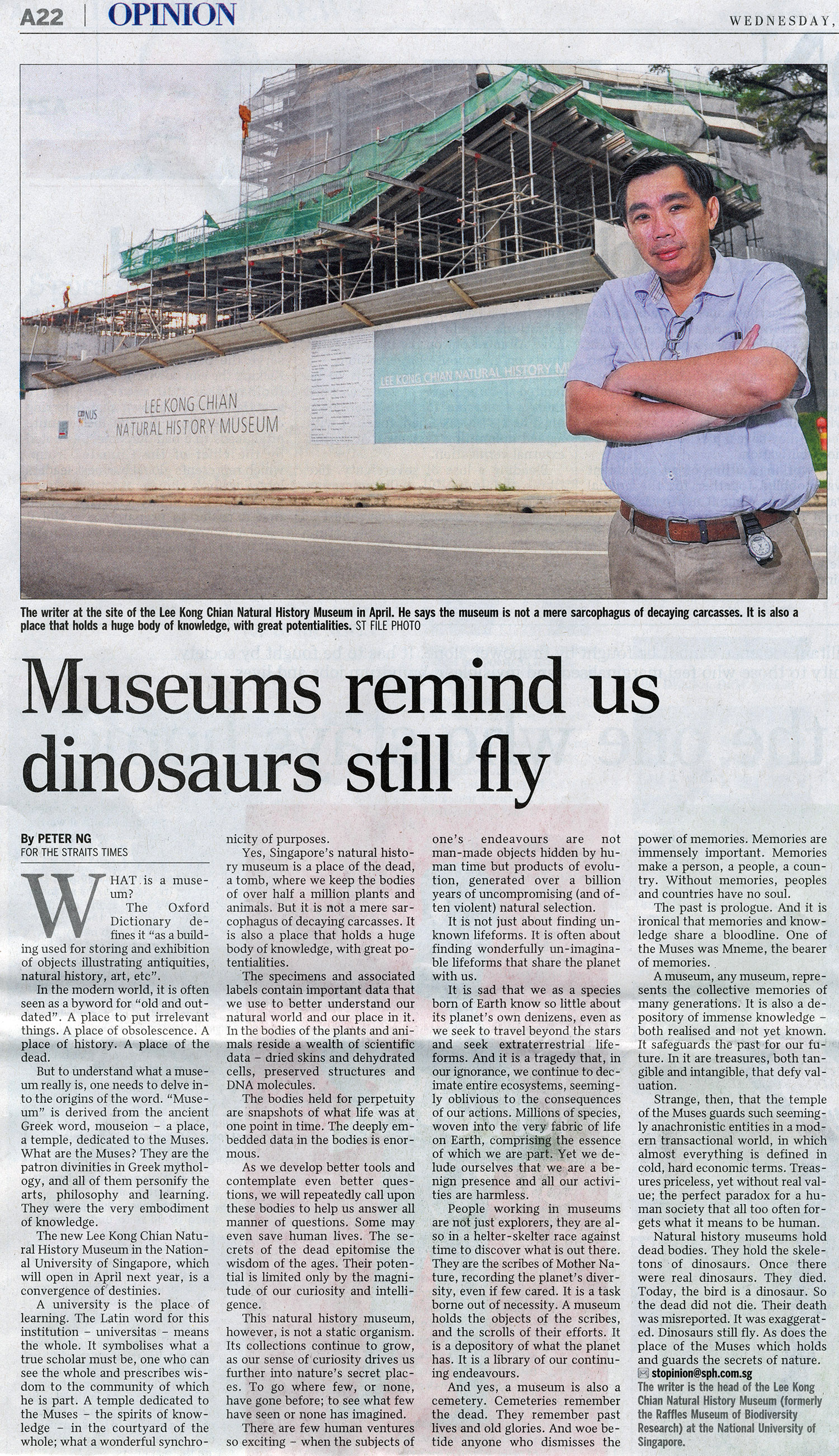 Museums remind us dinosaurs still fly lee kong chian natural history museum - Images remind us s ...