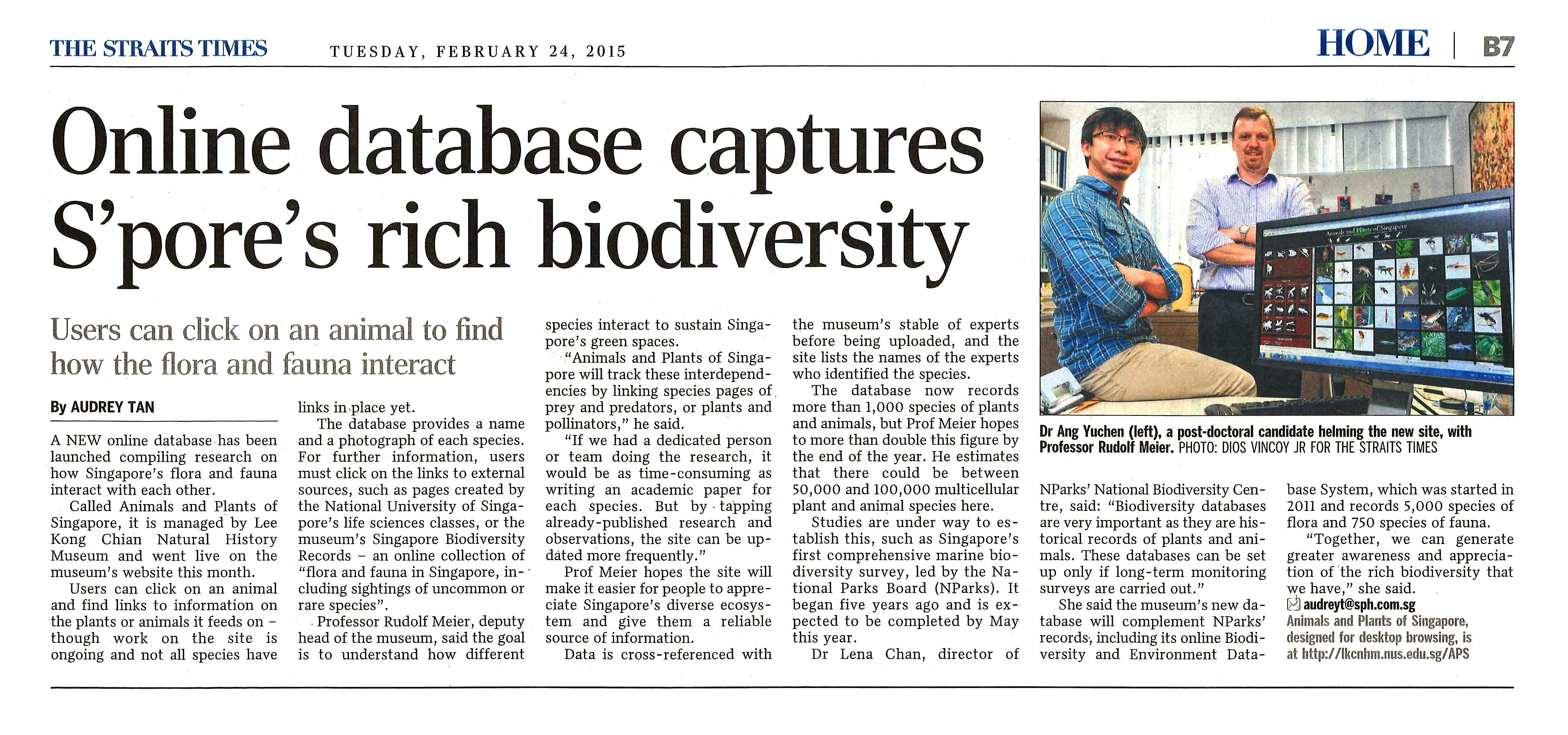 biodiversity in singapore Biodiversity of singapore symposium iii sat 24 sep 2011 @ nus lt27, 8am-6pm click to read the abstracts or the tweets nus cast & youtube of talks part 1 - welcome address, goh address, symposium awards nuscast or youtube part 2 - impressions from the community and forests session nuscast or youtube part 3 - special.