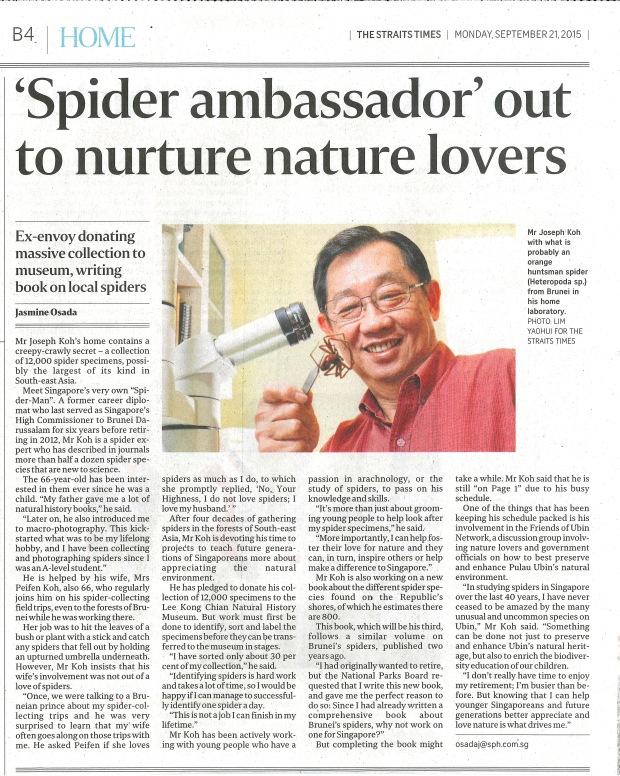 Spider Ambassador out to nurture nature lovers ST 21092015