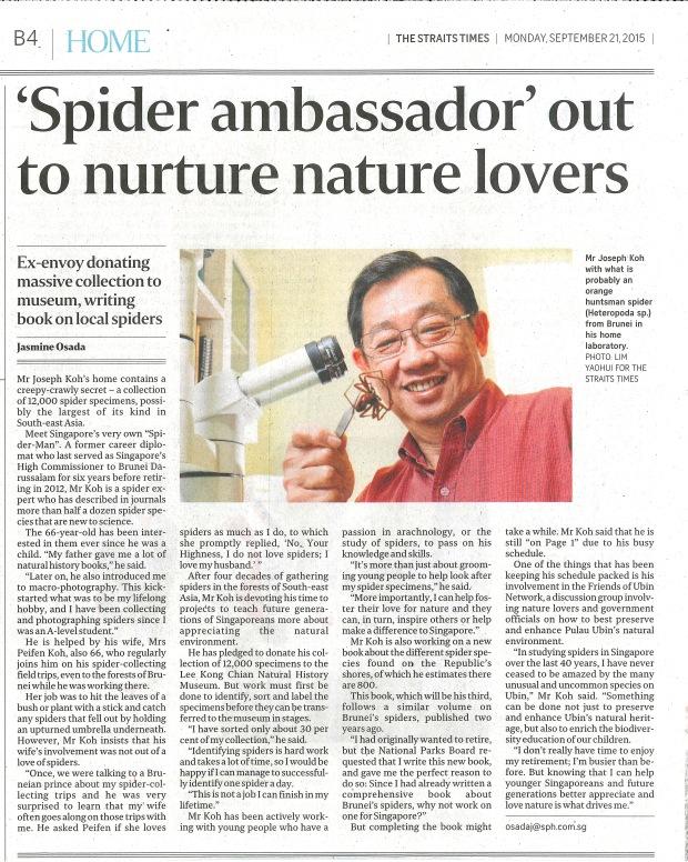 Spider Ambassador out to nurture nature lovers ST 21092015